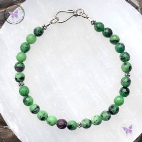 Anyolite - Ruby Zoisite - Bracelet with Hook Clasp